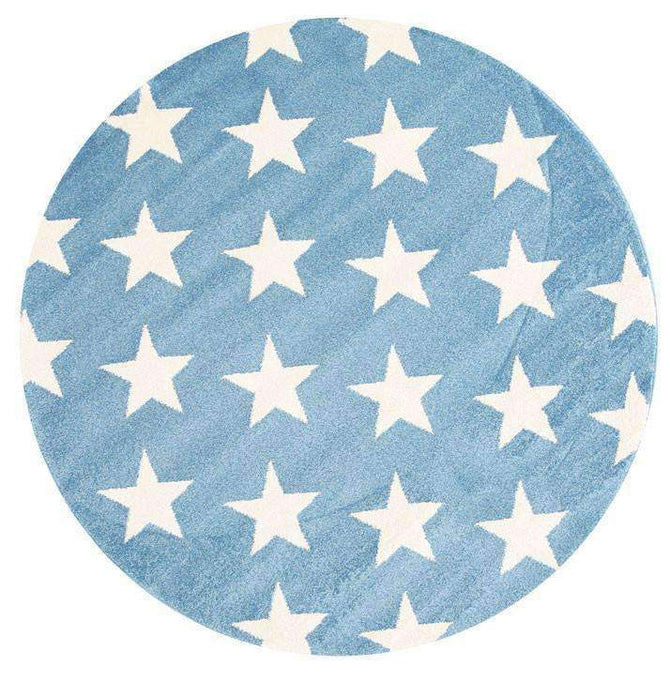 Paddington Blue and White Stars Kids Round Rug, [cheapest rugs online], [au rugs], [rugs australia]