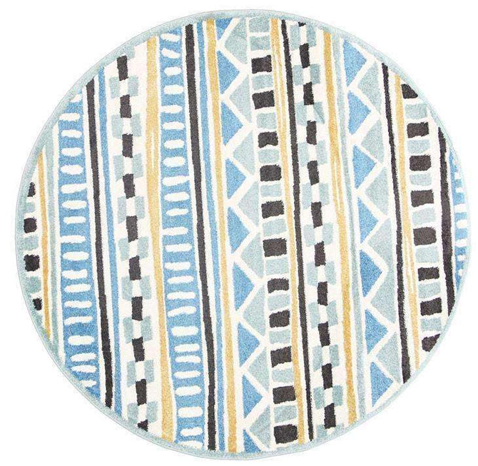 Paddington Blue and Yellow Tribal Kids Round Rug, [cheapest rugs online], [au rugs], [rugs australia]