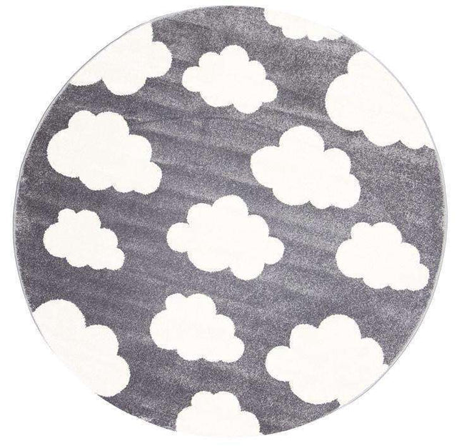 Paddington Dark Grey and White Cloud Kids Round Rug, [cheapest rugs online], [au rugs], [rugs australia]