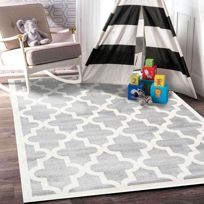 Paddington Light Grey and White Lattice Pattern Kids Rug, [cheapest rugs online], [au rugs], [rugs australia]