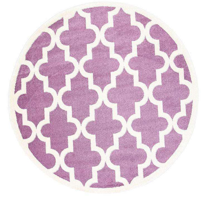 Paddington Violet Pink and White Lattice Pattern Kids Round Rug, [cheapest rugs online], [au rugs], [rugs australia]