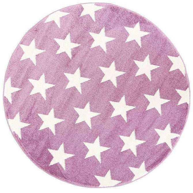 Paddington Violet Pink and White Stars Kids Round Rug, [cheapest rugs online], [au rugs], [rugs australia]