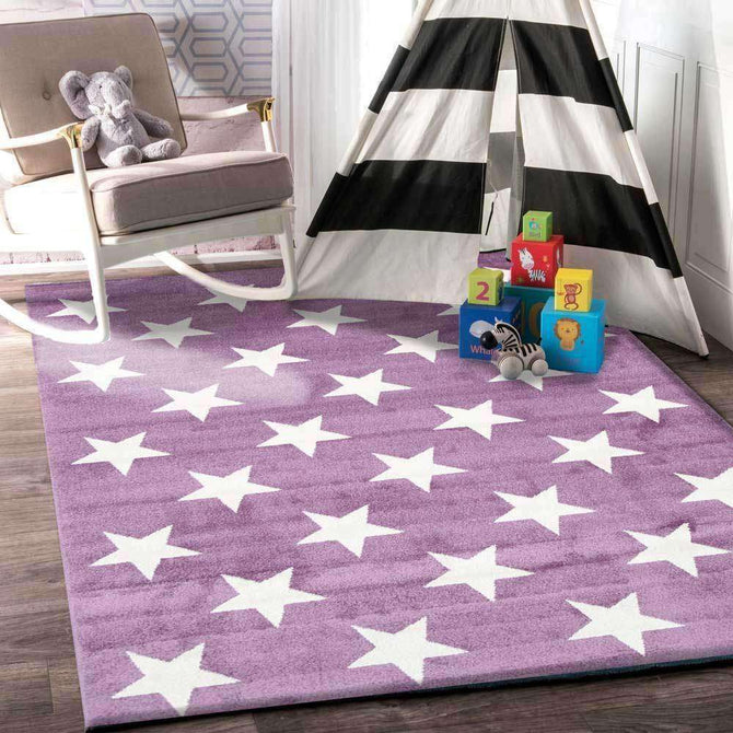 Paddington Violet Pink and White Stars Kids Rug, [cheapest rugs online], [au rugs], [rugs australia]