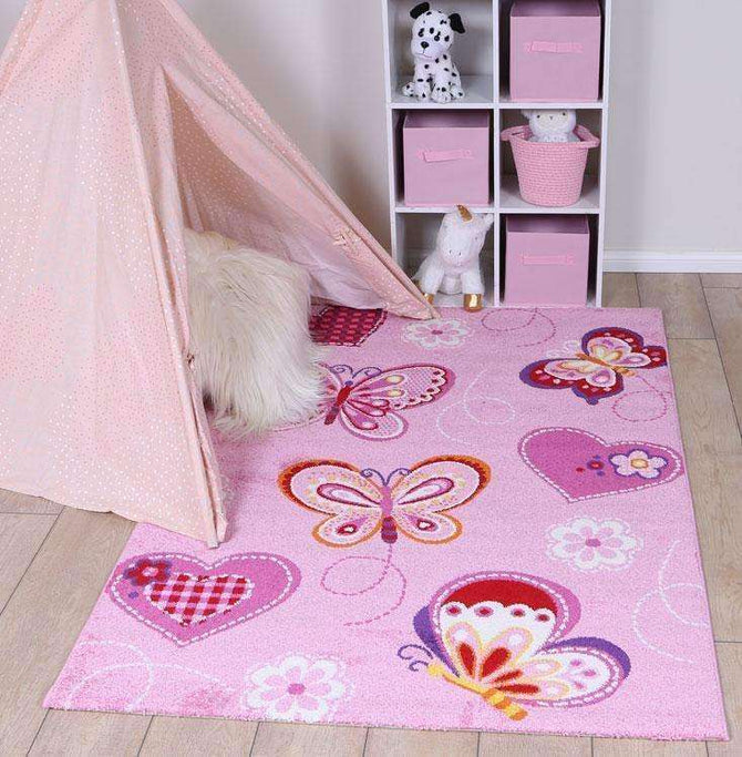 Poppins Kids Pink Butterfly Rug, [cheapest rugs online], [au rugs], [rugs australia]