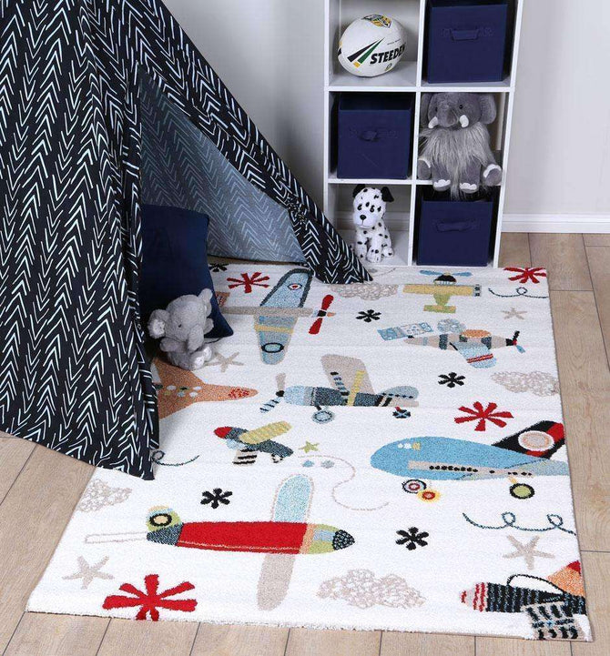Poppins Kids Planes Rug Multi, [cheapest rugs online], [au rugs], [rugs australia]