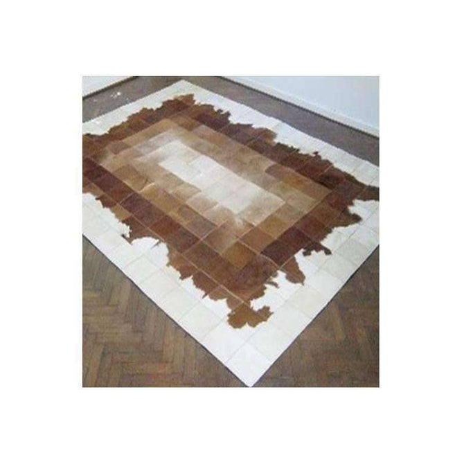 Premium Cowhide Patchwork White Brown Rug, [cheapest rugs online], [au rugs], [rugs australia]