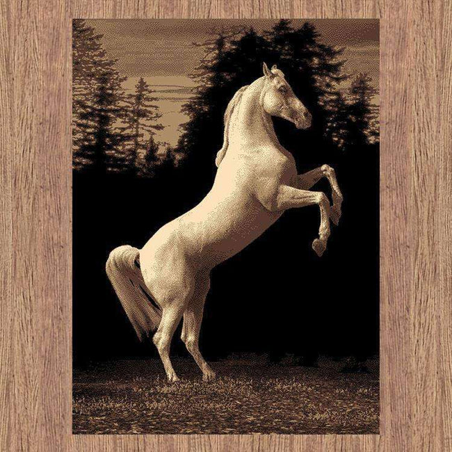 Swift Horse Picture Modern Brown Rug, [cheapest rugs online], [au rugs], [rugs australia]