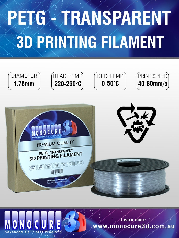 PETG FILAMENT - TRANSPARENT (1 Kg)