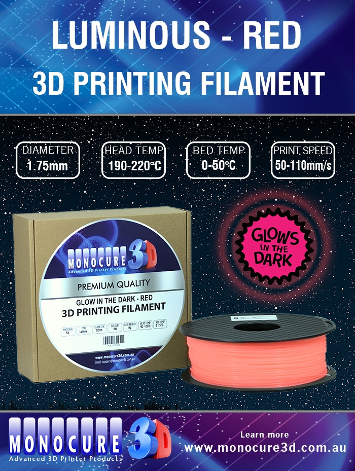 LUMINOUS PLA FILAMENT - RED (1 Kg)