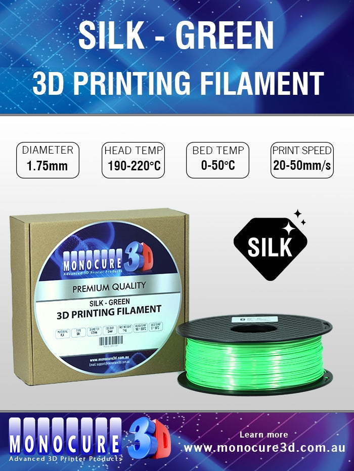SILK PLA FILAMENT - GREEN (1 KG)