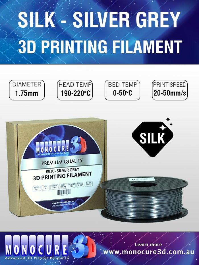 SILK PLA FILAMENT - SILVER GREY (1 KG)