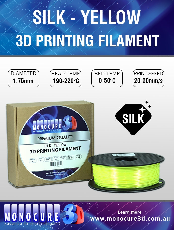 SILK PLA FILAMENT - YELLOW (1 KG)