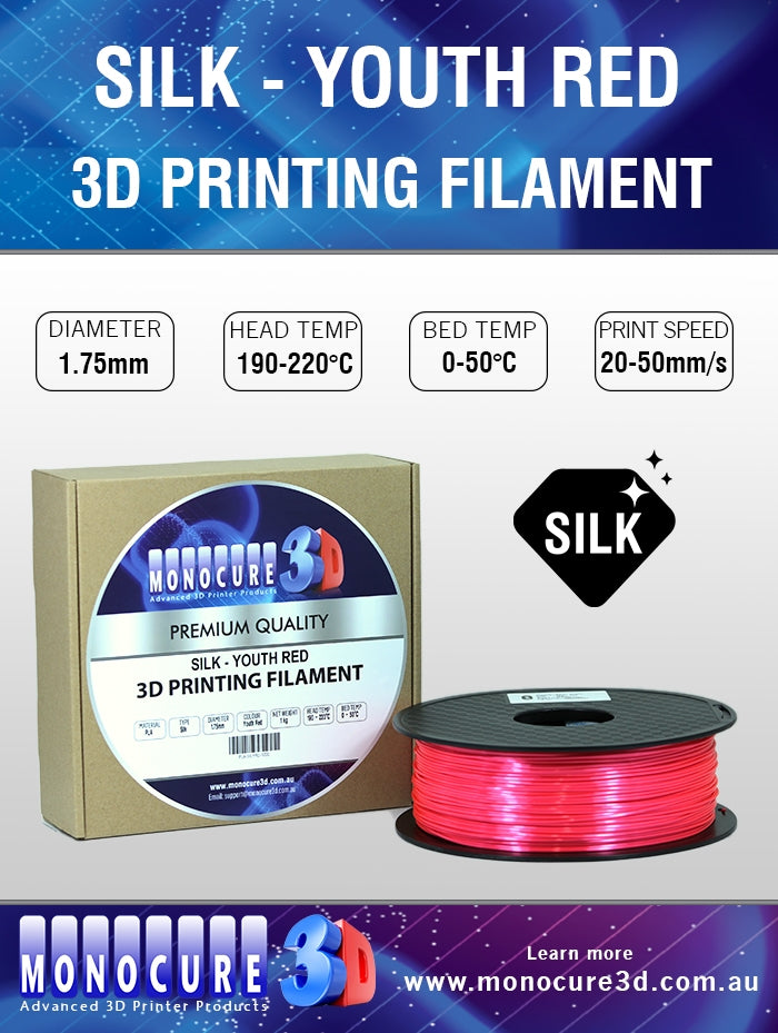 SILK PLA FILAMENT - YOUTH RED (1 KG)