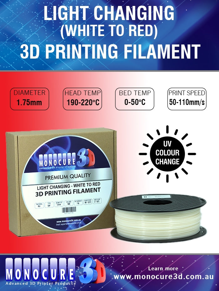 LIGHT CHANGING PLA - WHITE TO RED (1 Kg)