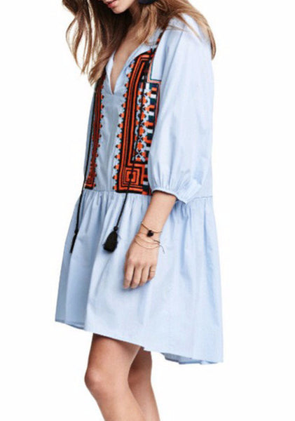 Boho Style Embroidery Mini Dresses - Flora Clothing