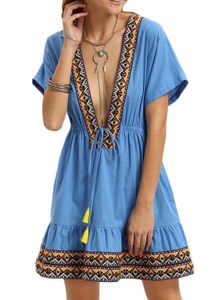 Vintage Blue Deep V Neck Short Sleeve Dress - Flora Clothing