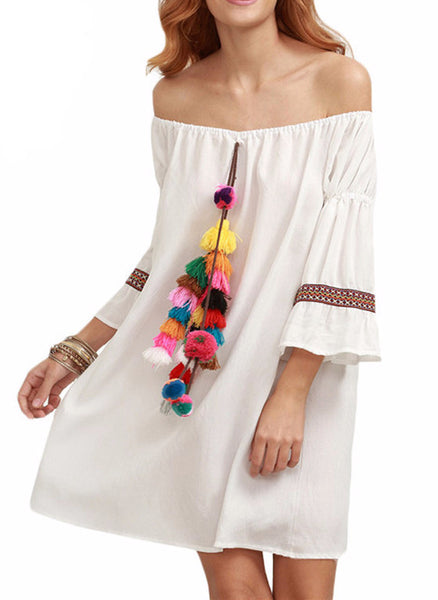Casual White Tassel Embellished Off The Shoulder Dress - Flora Clothing