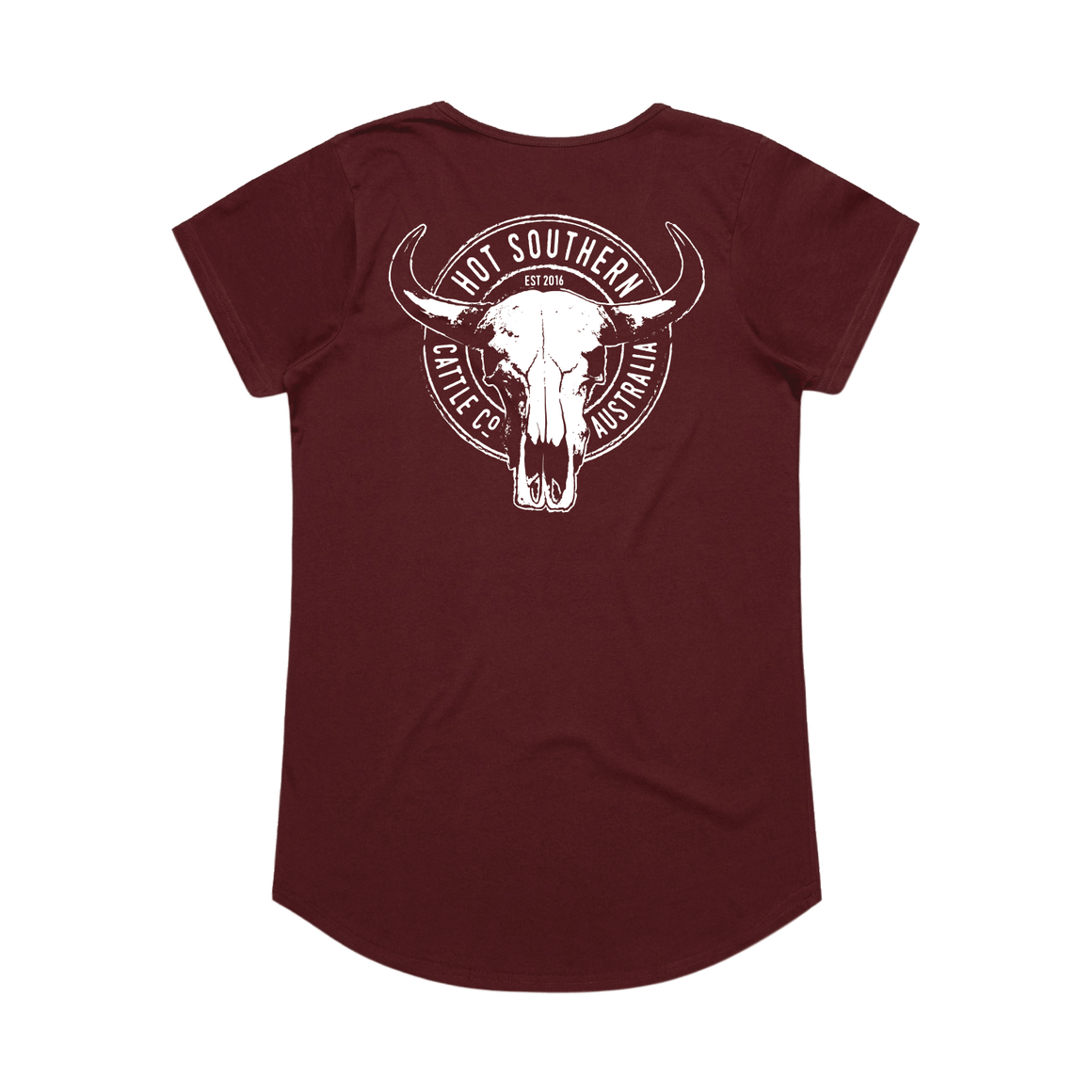 Hot Southern Cattle Co Maroon Womens Scoop T-Shirt