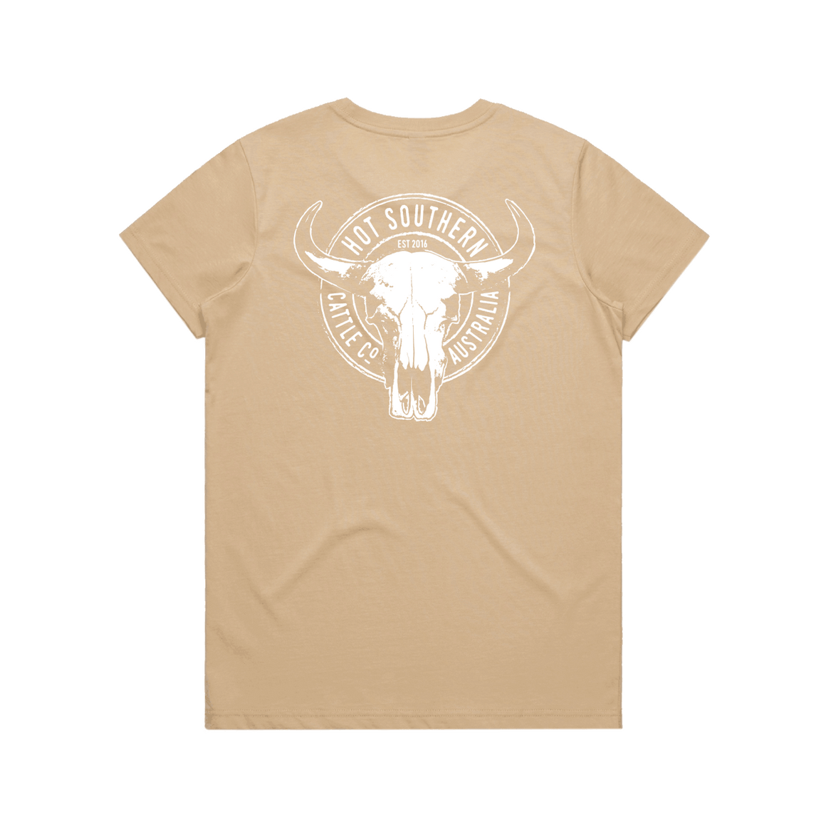 Hot Southern Cattle Co Tan Womens Crew Neck T-Shirt