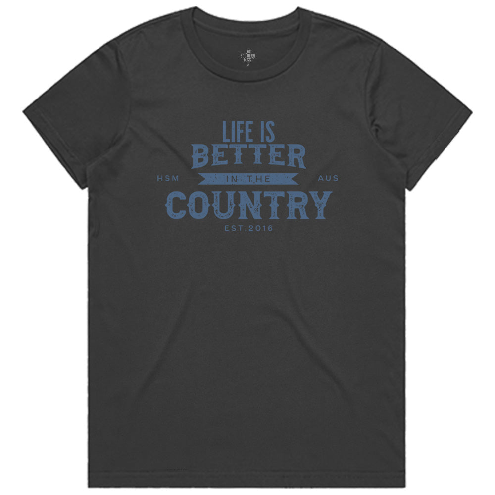 Hot Southern Miss Life Is Better In The Country Dark Grey Women's Fit Crew Neck T-Shirt - [Only size XS & M LEFT] 30% OFF [NO Refunds/Exchanges]