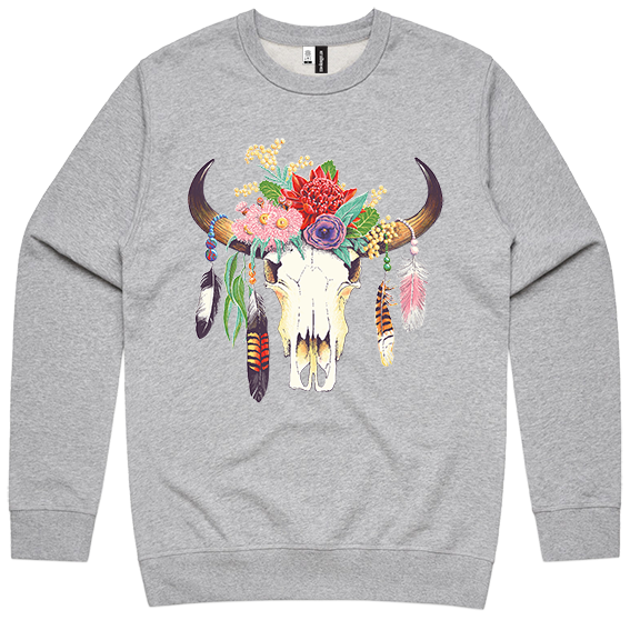 Hot Southern Miss Aussie Floral Skull Grey Marle Premium Crew Neck Pullover - Unisex Fit