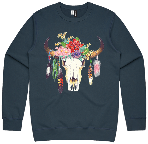 Hot Southern Miss Aussie Floral Skull Vintage Blue Premium Crew Neck Pullover - Unisex Fit - [Only size S & M LEFT] 30% OFF [NO Refunds/Exchanges]
