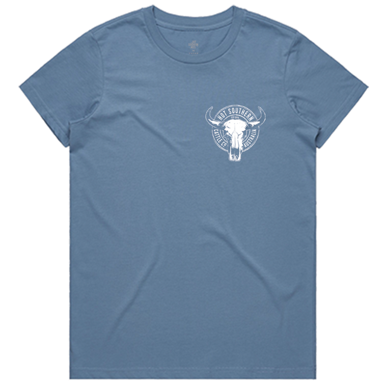 Hot Southern Cattle Co Dusty Blue Crew Neck T-Shirt