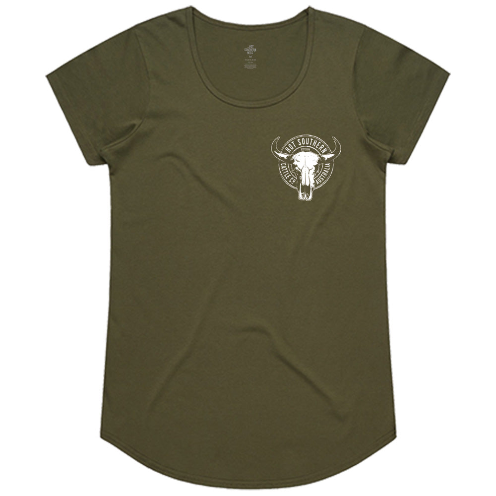 Hot Southern Cattle Co Khaki Scoop Neck T-Shirt