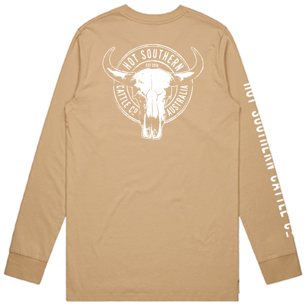 Hot Southern Cattle Co Long Sleeve Tan Crew Neck T-Shirt - Unisex Fit