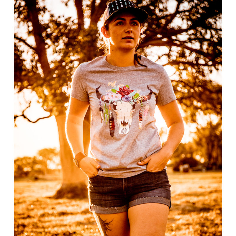 Hot Southern Miss Aussie Colour Skull Grey Marle Women's Fit Crew Neck T-Shirt