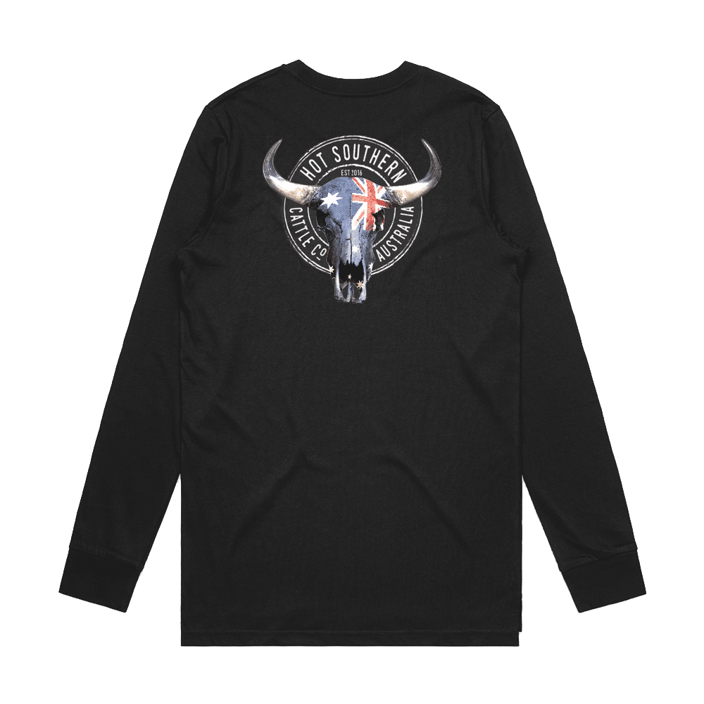 Hot Southern Cattle Co Aussie Flag Skull Unisex Fit Black Long Sleeve Crew Neck T-Shirt