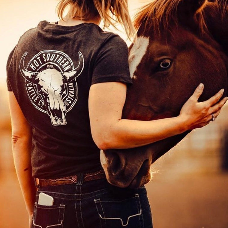 Cattle Co Ladies Charcoal Marle Tee
