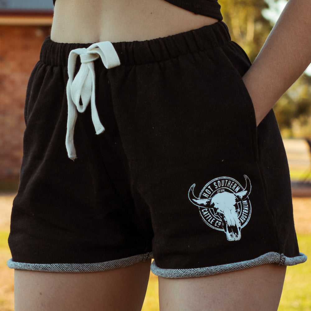 Cattle Co Ladies Black Marle Lounge Shorts