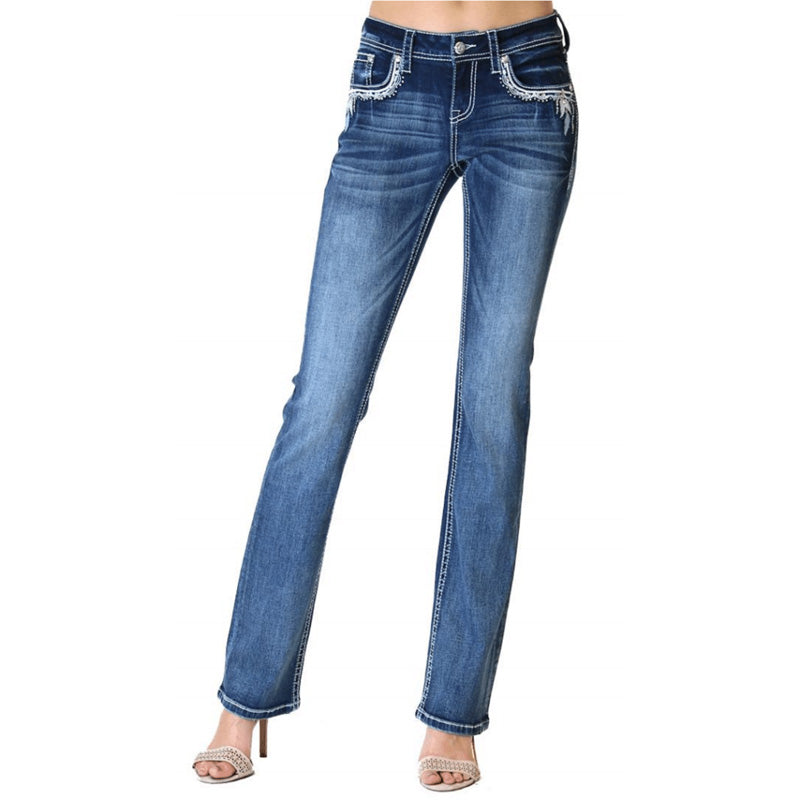 Easy Fit Midrise Bootcut Jeans - Eva - Grace In La