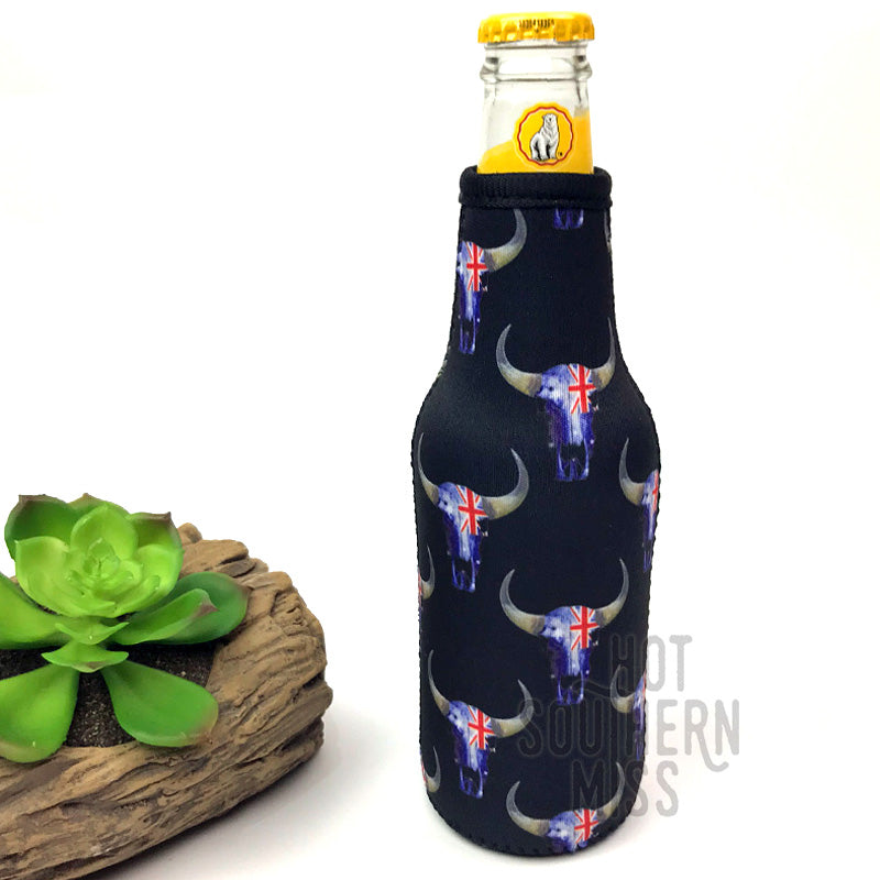Aussie Flag Skull Beer Stubby Bottle Cooler Holder