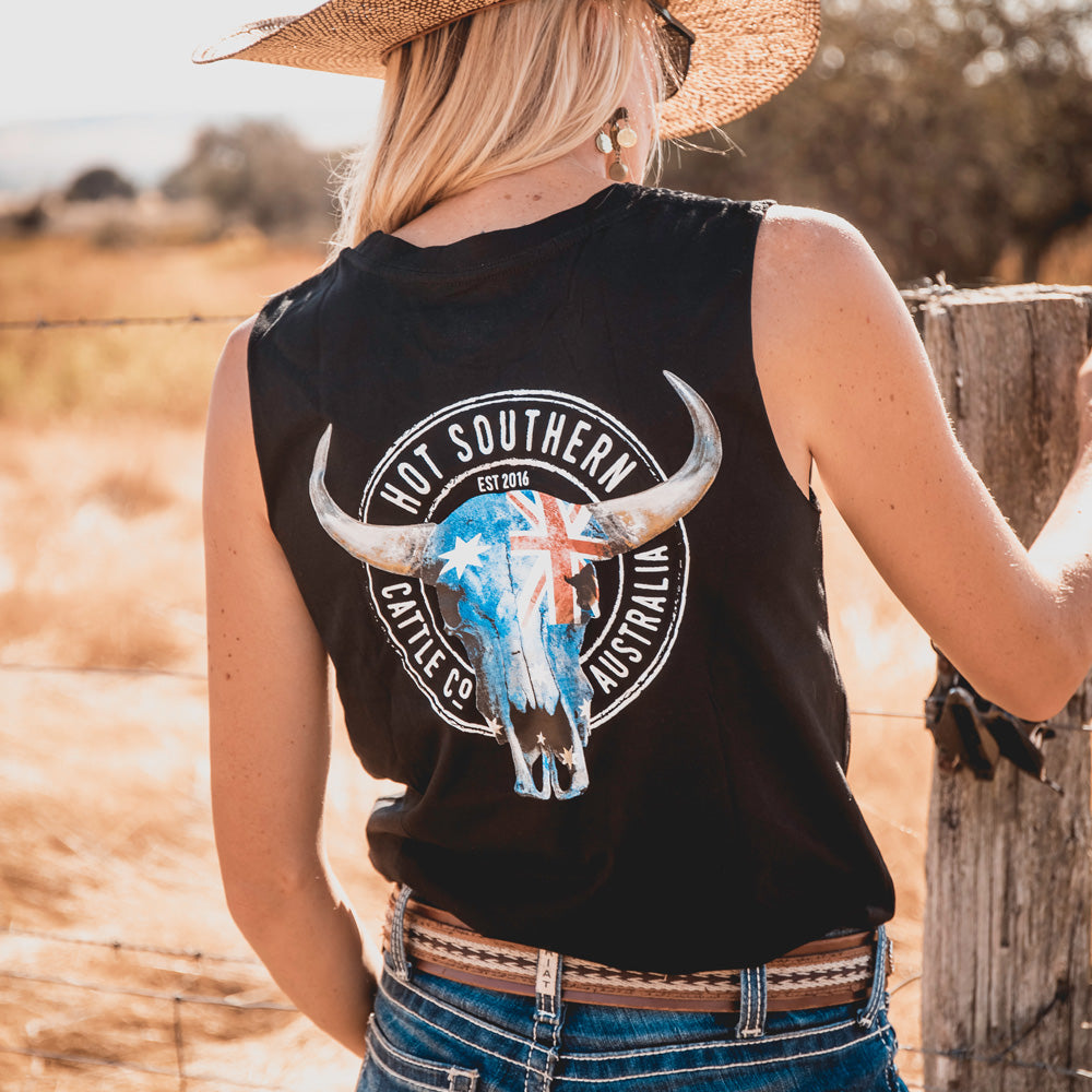 Hot Southern Cattle Co Aussie Flag Skull Black Womens Original Tank