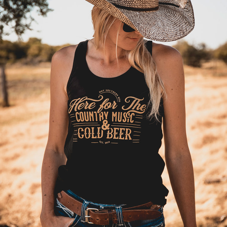 Hot Southern Miss Country Music & Cold Beer Black Singlet