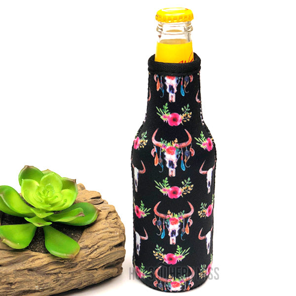 Black Floral Cow Skull Beer Stubby Cooler Holder
