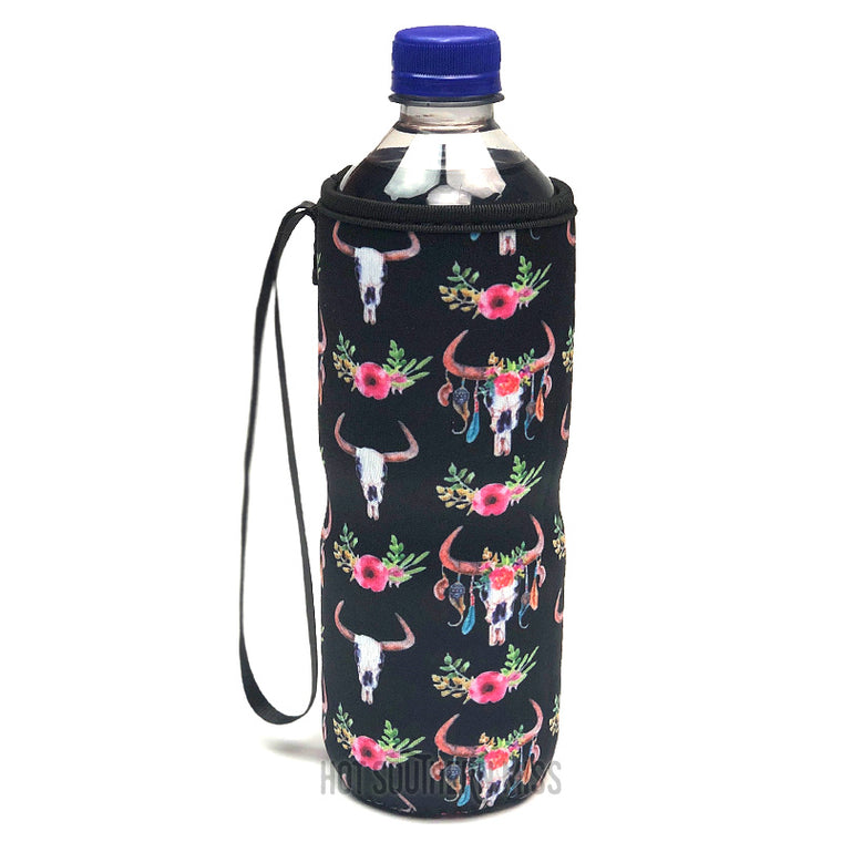 Black Floral Bull Skull Water Bottle Cooler Holder