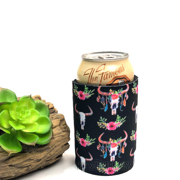 Black Floral Bull Skull Beer Can Stubby Cooler Holder