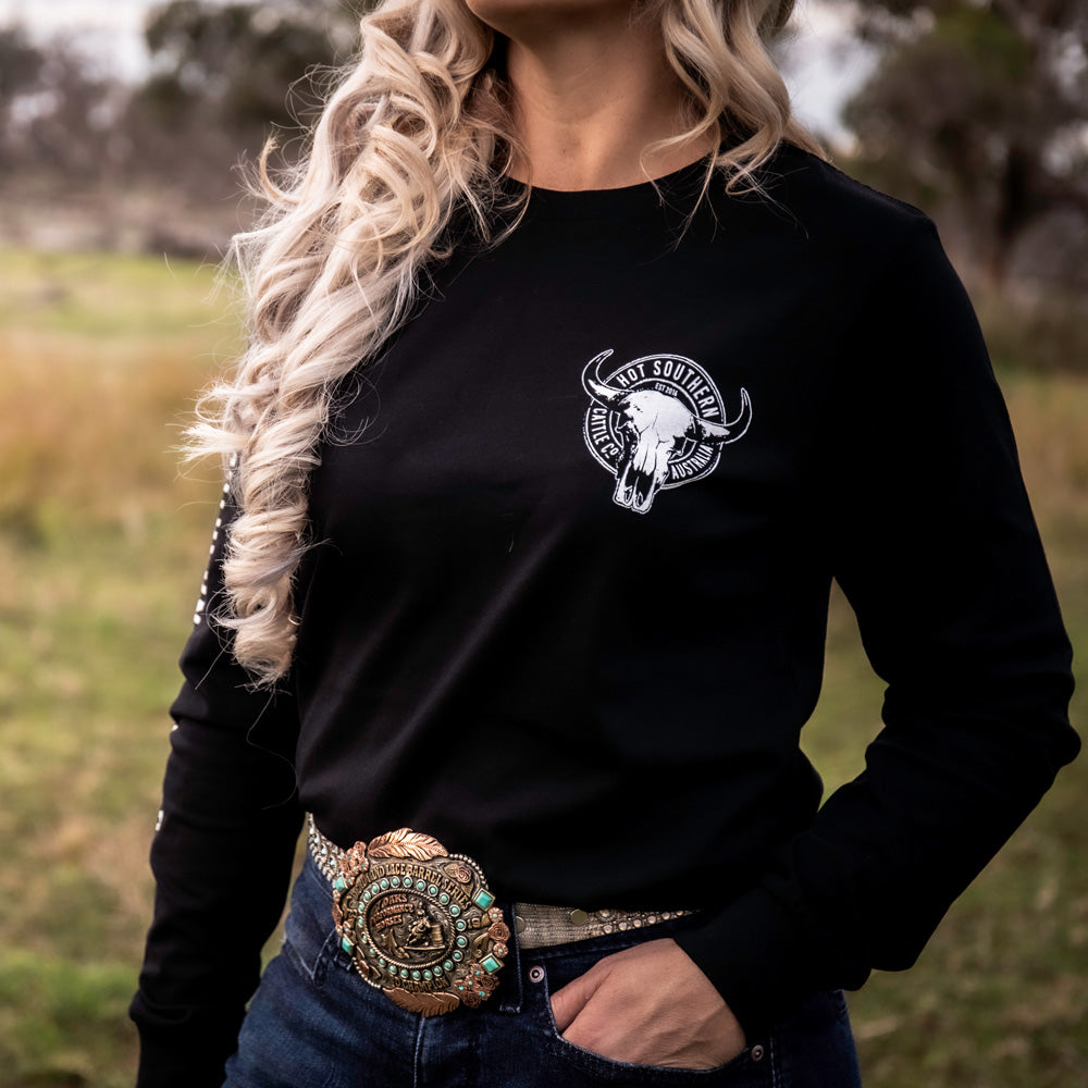 Cattle Co Unisex Long Sleeve Black Tee