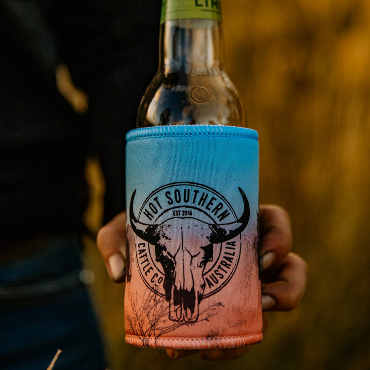 Cattle Co Beer Can Stubby Bottle Cooler Holder - Blue & Peach Drover