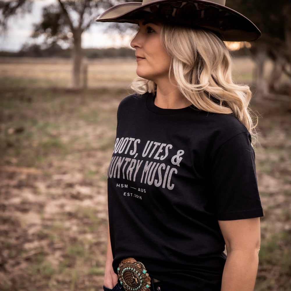 Boots, Utes & Country Music Unisex Black Tee
