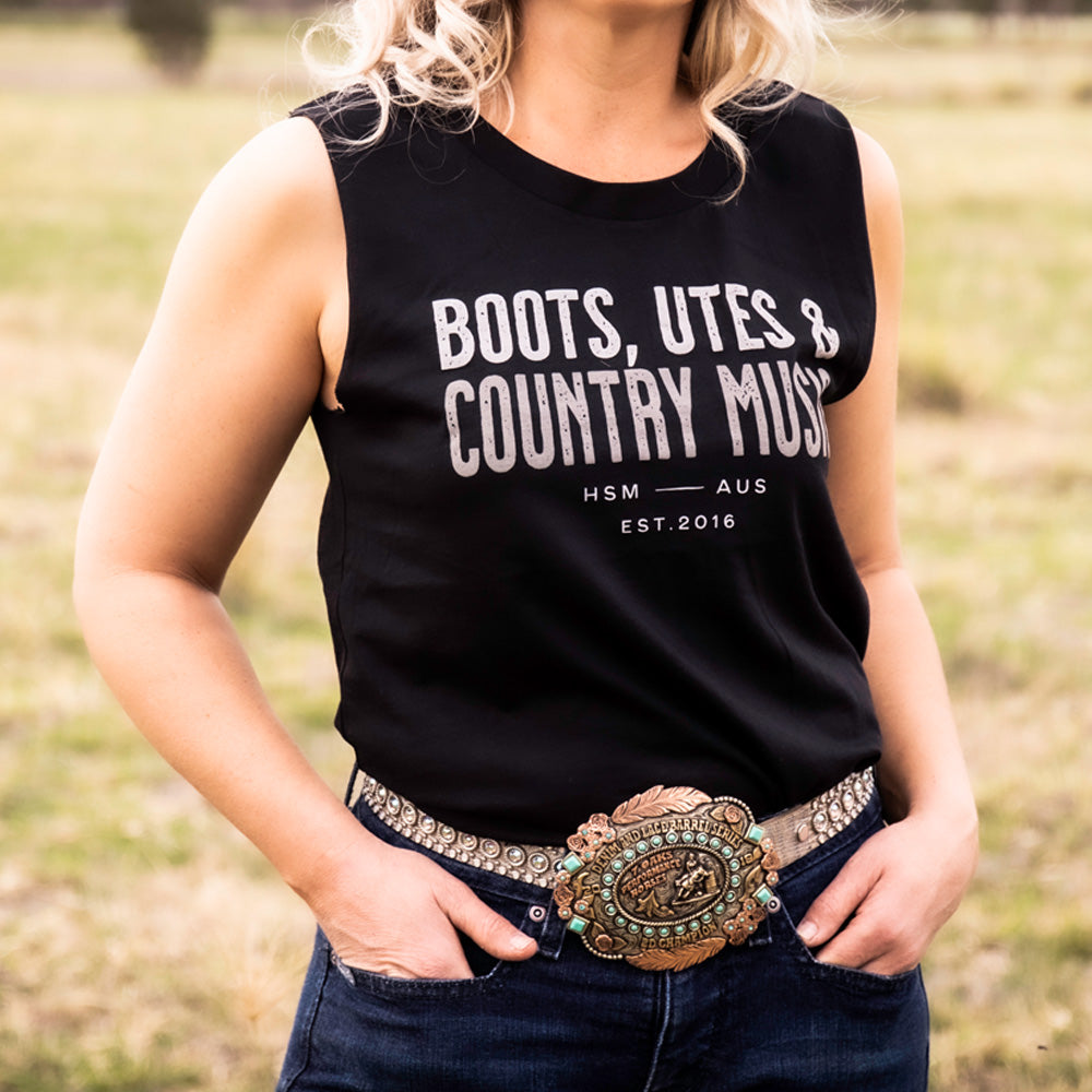 Boots, Utes & Country Music Ladies Black Tank