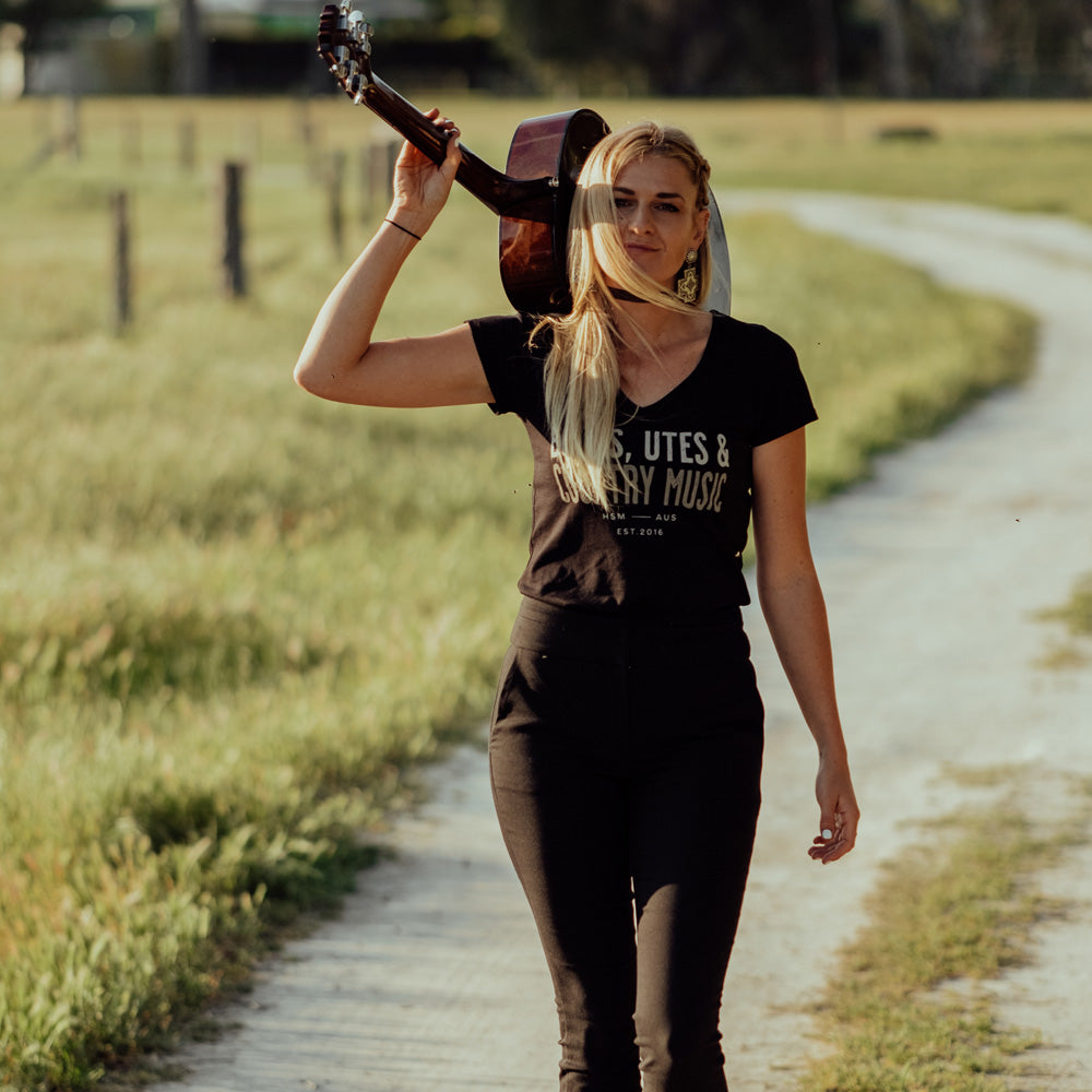 Boots, Utes & Country Music Ladies V-Neck Black Tee
