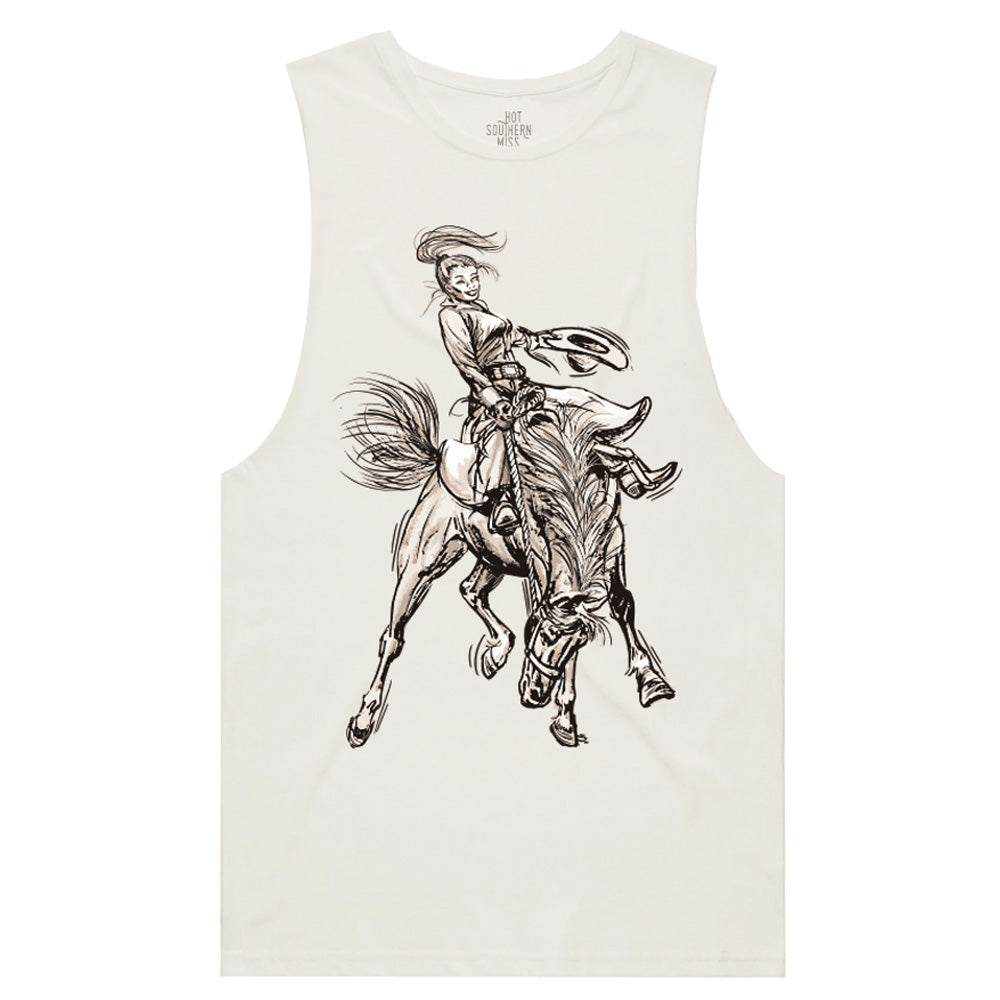 Hot Southern Miss Saddle Bronc Cream Muscle Tank - Unisex Fit