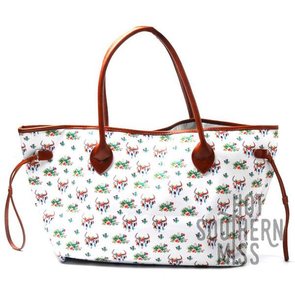 Canvas and Faux Leather Western Tote Bag - Floral Bull Skull