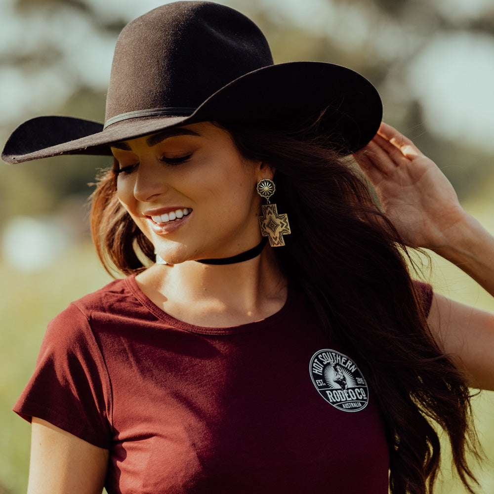 Hot Southern Rodeo Co Bull Rider Women's Fit Maroon Scoop Neck T-shirt