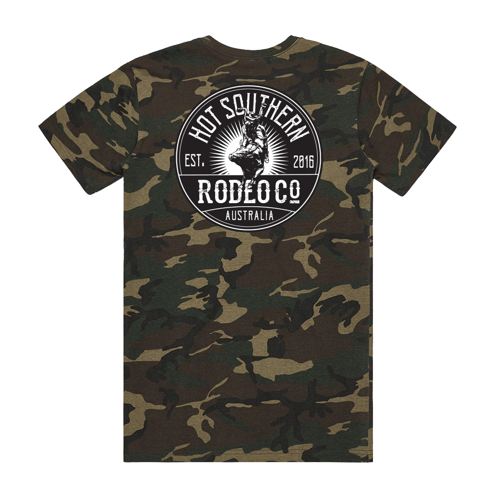 Hot Southern Rodeo Co Bull Rider Unisex Fit Crew Neck Camo T-Shirt