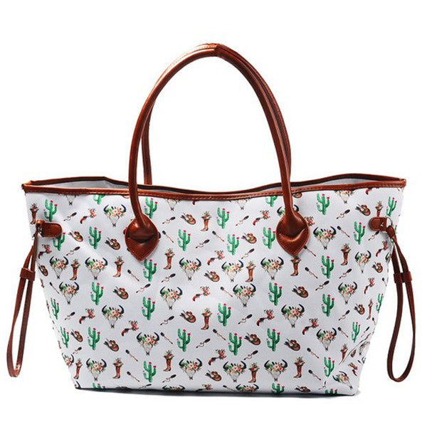 Canvas and Faux Leather Western Tote Bag - Cactus, Boots & Bull Skull